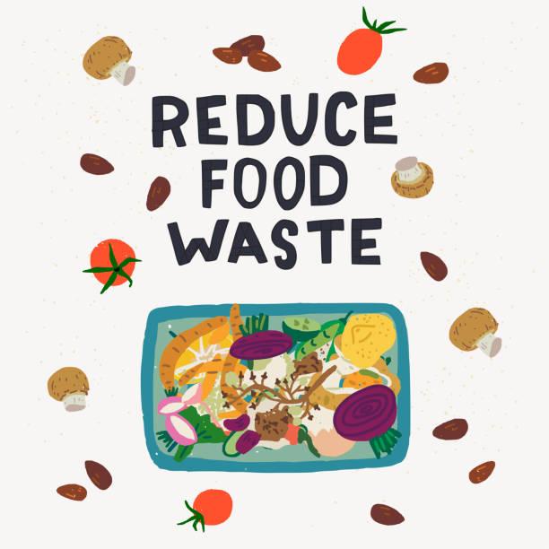 ilustraciones, imágenes clip art, dibujos animados e iconos de stock de reducir la inscripción de residuos de alimentos y la papelera de compost - leftovers