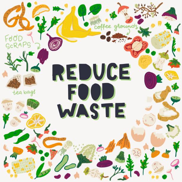 ilustraciones, imágenes clip art, dibujos animados e iconos de stock de reducir la inscripción de los desechos de alimentos y los restos de comida - leftovers