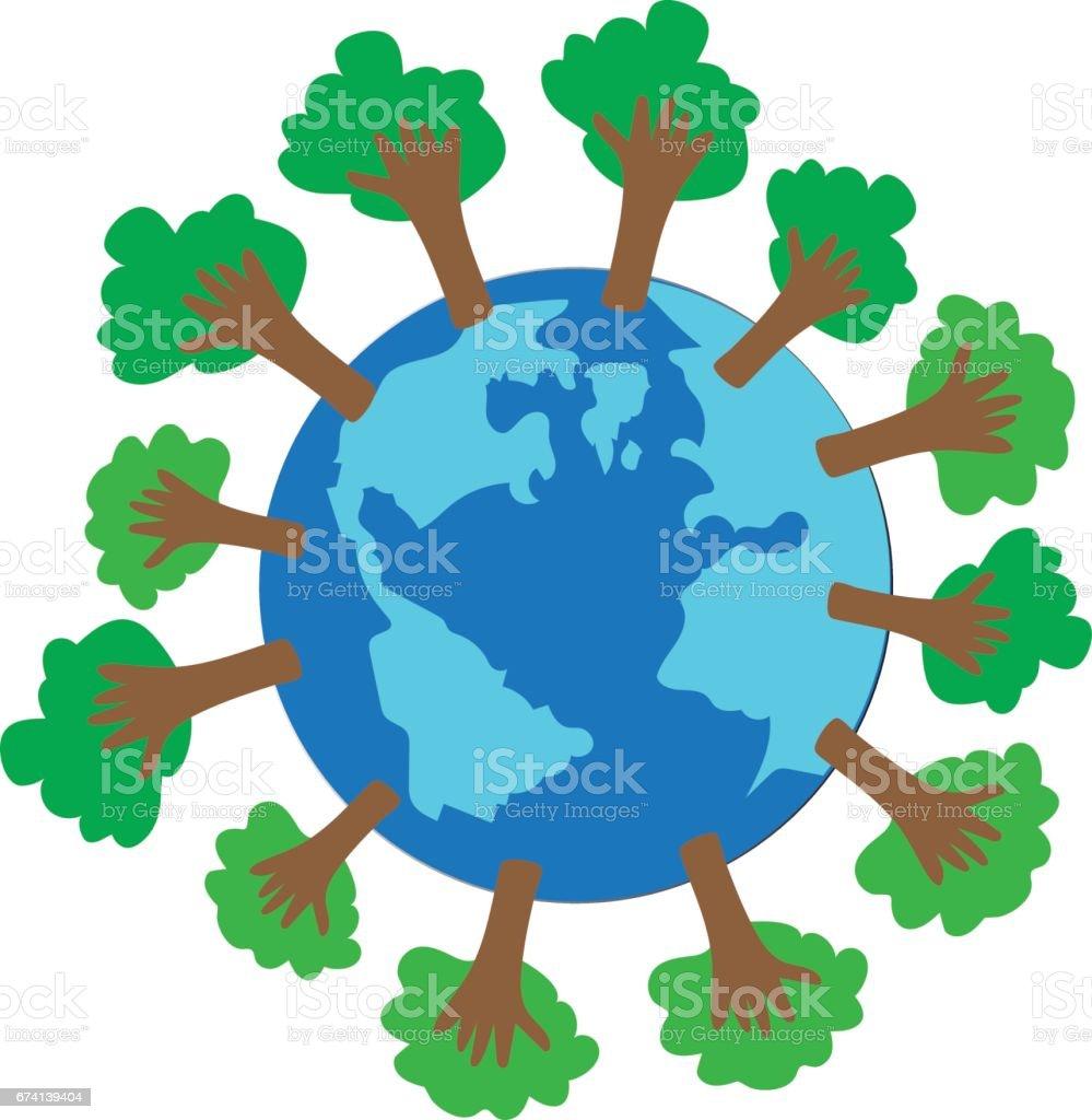 reduce global warming vector art illustration