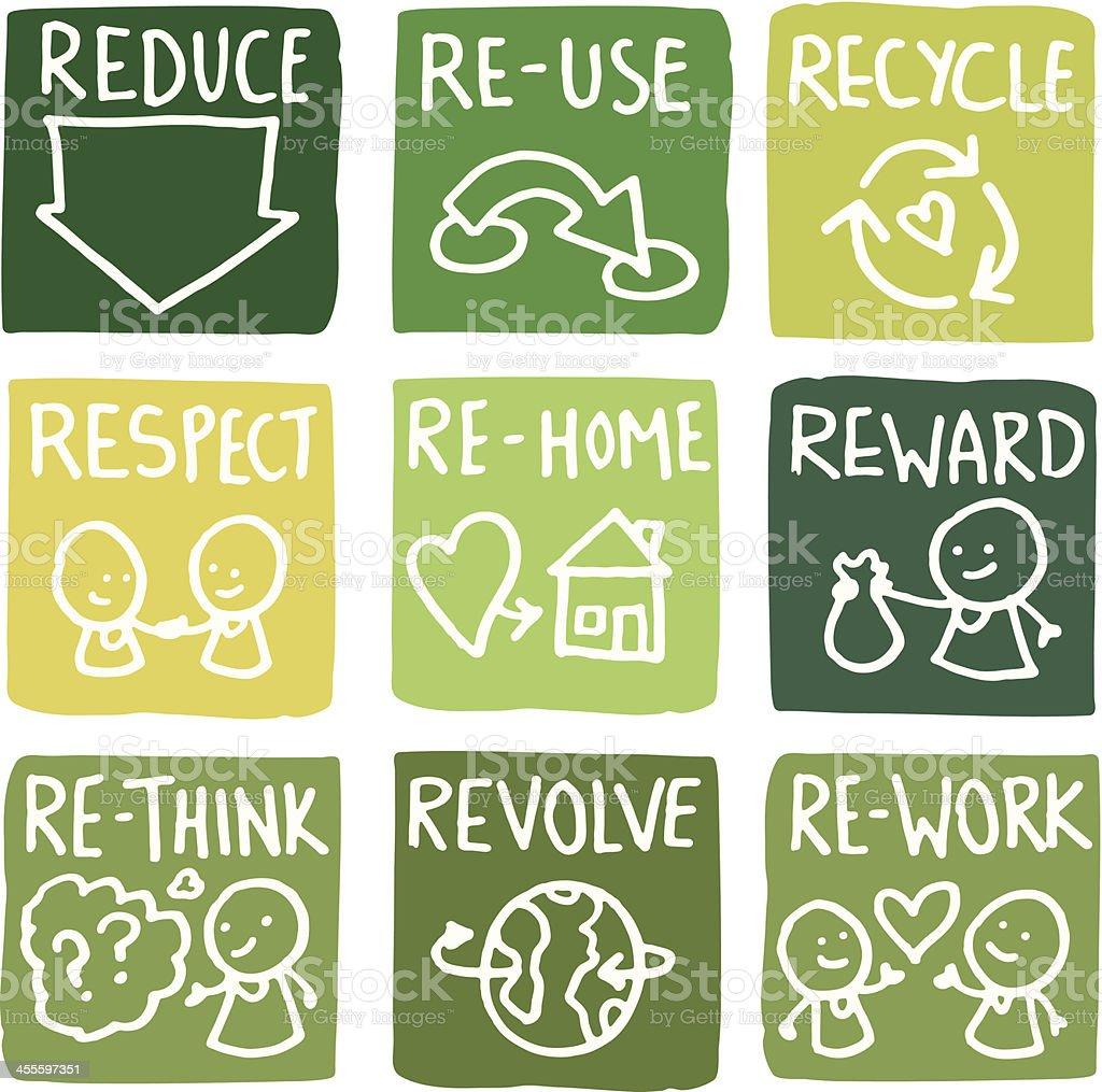 Reduzieren, Materialien wiederzuverwenden und zu recyceln block icon-set – Vektorgrafik