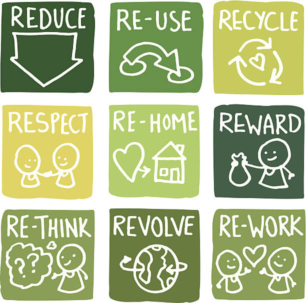 bildbanksillustrationer, clip art samt tecknat material och ikoner med reduce, reuse and recycle block icon set - recycling heart