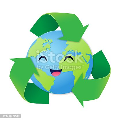 istock Reduce Reuse Recycle concept, Paper art style of the world smiled happily with three green arrows surrounded, Happy earth day, World environment day 1269469549