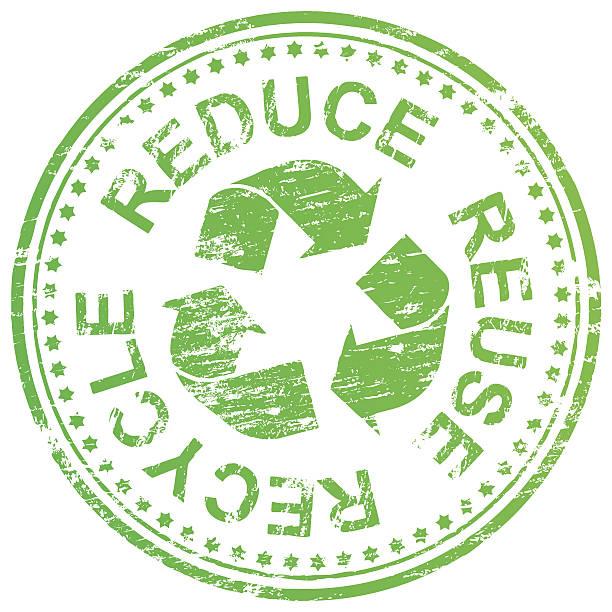 stockillustraties, clipart, cartoons en iconen met reduce reuse recycle stamp - vermindering