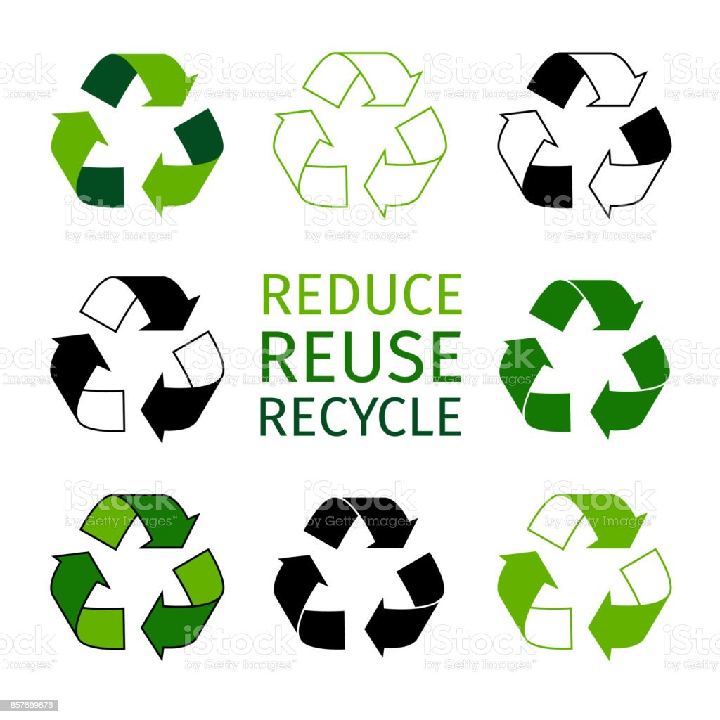 Reduce Reuse Recycle Symbol Type Set Green Arrows Recycle Eco