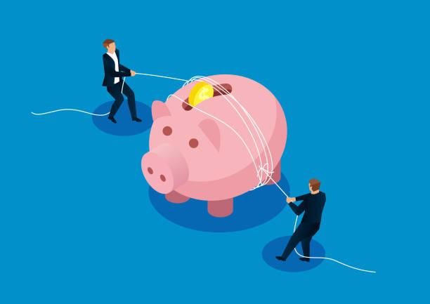 ilustraciones, imágenes clip art, dibujos animados e iconos de stock de gastos reducidos, dos empresarios aprietan la alcancía con una cuerda - embargo hipotecario