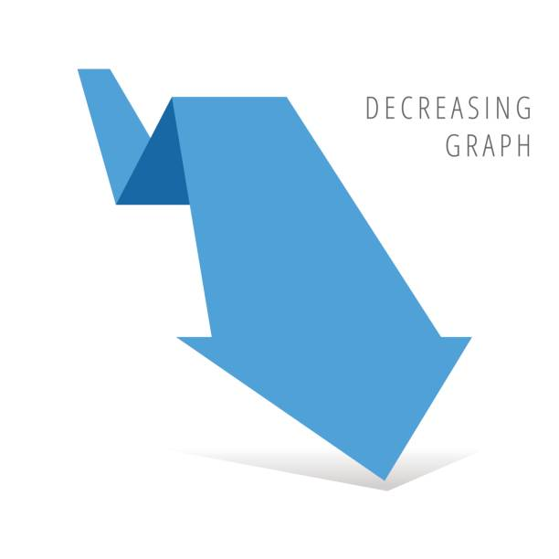 Reduction graph concept flat illustration. Blue arrow recession business symbol. Reduction graph concept. Blue arrow depict recession business. Flat illustration of fallof arrow with shadow as an element for infographic, article background for internet, publish, social networks. recession stock illustrations