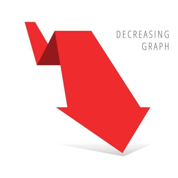 Reduction graph concept flat illustration. Red arrow recession business symbol. vector art illustration