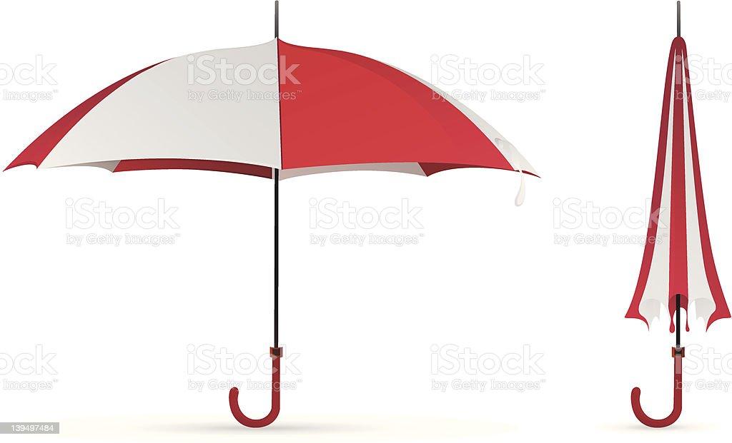 red-white colored umbrella vector art illustration