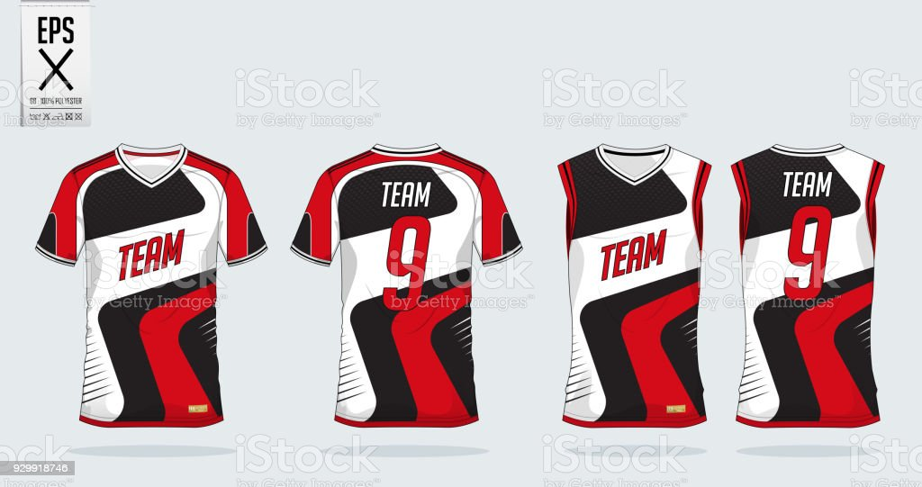Red-White t-shirt sport design template for soccer jersey, football kit and tank top for basketball jersey. Sport uniform in front and back view. Tshirt mock up for sport club. Vector. vector art illustration