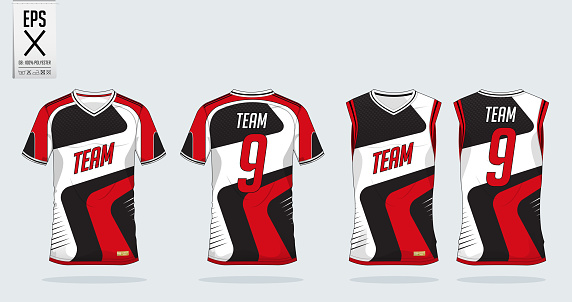 Download Redwhite Tshirt Sport Design Template For Soccer Jersey ...