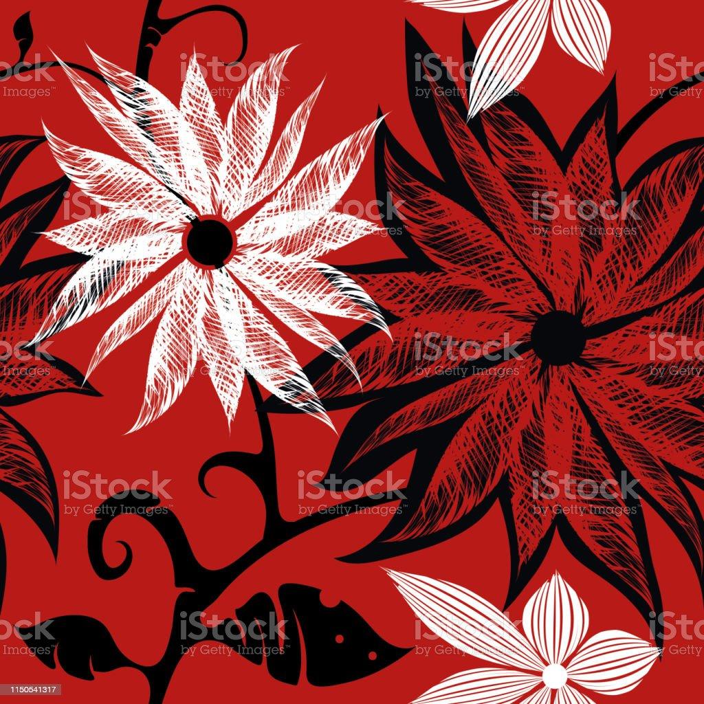 Rougeblancnoir à Trois Couleurs Sans Soudure Motif Floral
