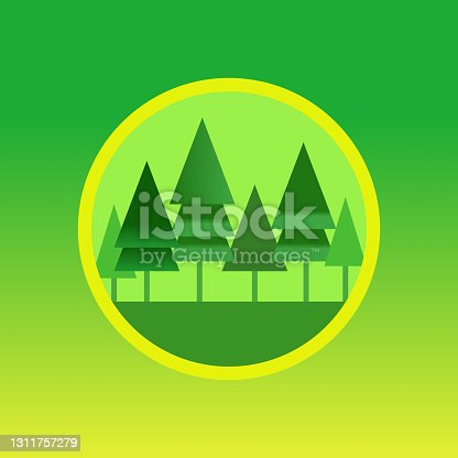istock Redwood forest landscape icon with redwood trees vector illustration 1311757279