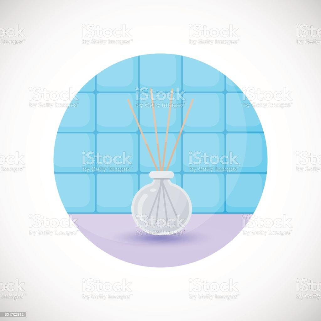 Reed diffuser with essential oils vector flat icon vector art illustration