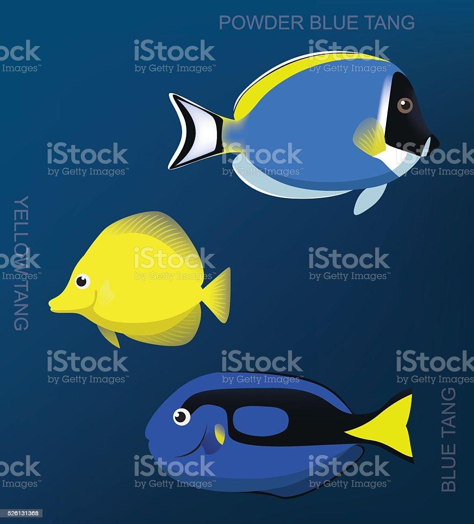 Reef Surgeonfish Set Cartoon Vector Illustration vector art illustration
