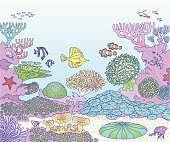An illustration of a reef with all sort of inhabitants. Including: