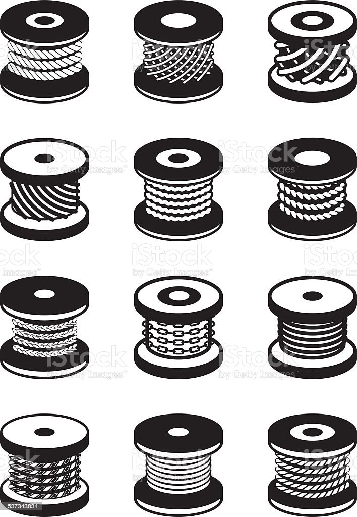 Reels with different ropes and wires vector art illustration