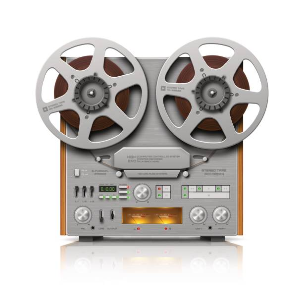 reel-to-reel audio tape recorder - record analog audio stock illustrations