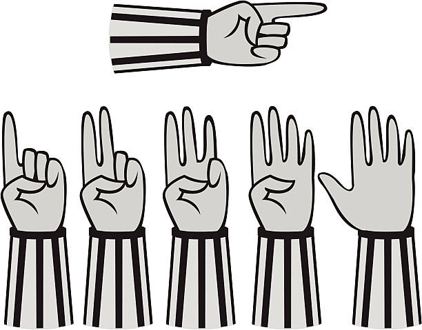 Ref Hands Referee hands counting and pointing. heyheydesigns stock illustrations