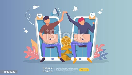 refer a friend affiliate partnership and earn money. marketing concept strategy. people character sharing referral business. template for web landing page, banner, presentation,poster, or print media.