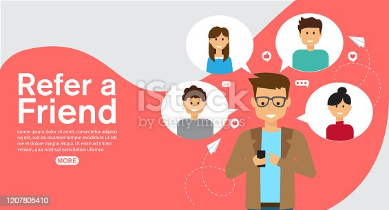 istock refer a friend affiliate partnership and earn money. marketing concept strategy.template for web landing page, banner, vector illustration 1207805410