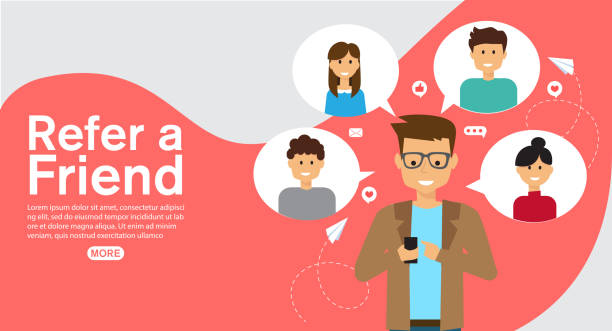 refer a friend affiliate partnership and earn money. marketing concept strategy.template for web landing page, banner, vector illustration vector art illustration