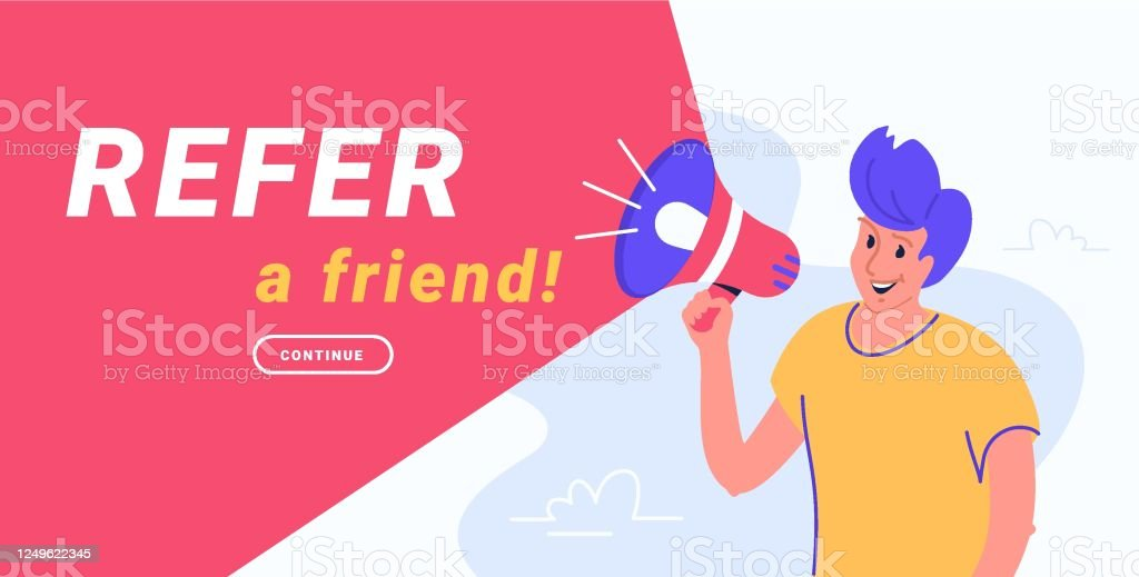 refer a friend and audience announcement on loudspeaker stock illustration download image now istock https www istockphoto com vector refer a friend and audience announcement on loudspeaker gm1249622345 364232771