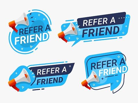 Refer a friend banner label badge set. referral program vector illustration