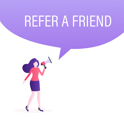 Refer a friend concept design, people share info about referral and earn money. Suitable for web landing page, mobile app, banner template. Vector Illustration.