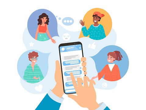 Refer a friend concept on social media