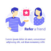 Refer a friend concept, referral program, two people talking, recommend application, business promotion, tell about service, giving advice, suggesting product, attract new customers
