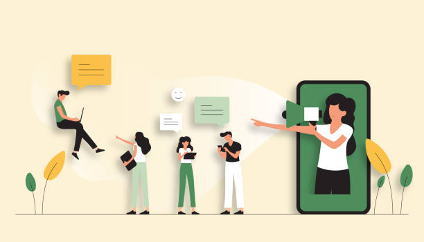 ilustrações, clipart, desenhos animados e ícones de consulte uma ilustração do vetor do conceito do amigo. flat modern design para web page, banner, apresentação etc. - social media
