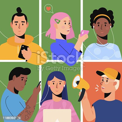 Refer a friend concept with a group of young people talking using smartphones and laptops. Referral loyalty program, promotion method. Vector illustration isolated