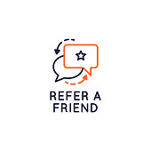 istock Refer a Friend icon. Referral program concept with speech bubbles icons isolated on white background. Vector illustration 1289195554