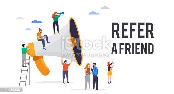 Refer a friend illustration. Big megaphone with a team work. Concept media for landing page, template, user interface, website
