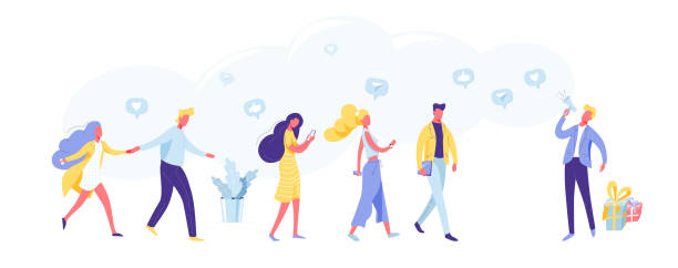 Refer a friend marketing vector background. Business man shout at megaphone about loyalty, promotion, gifts. Group of customer come. Internet, phone, mobile concept vector art illustration