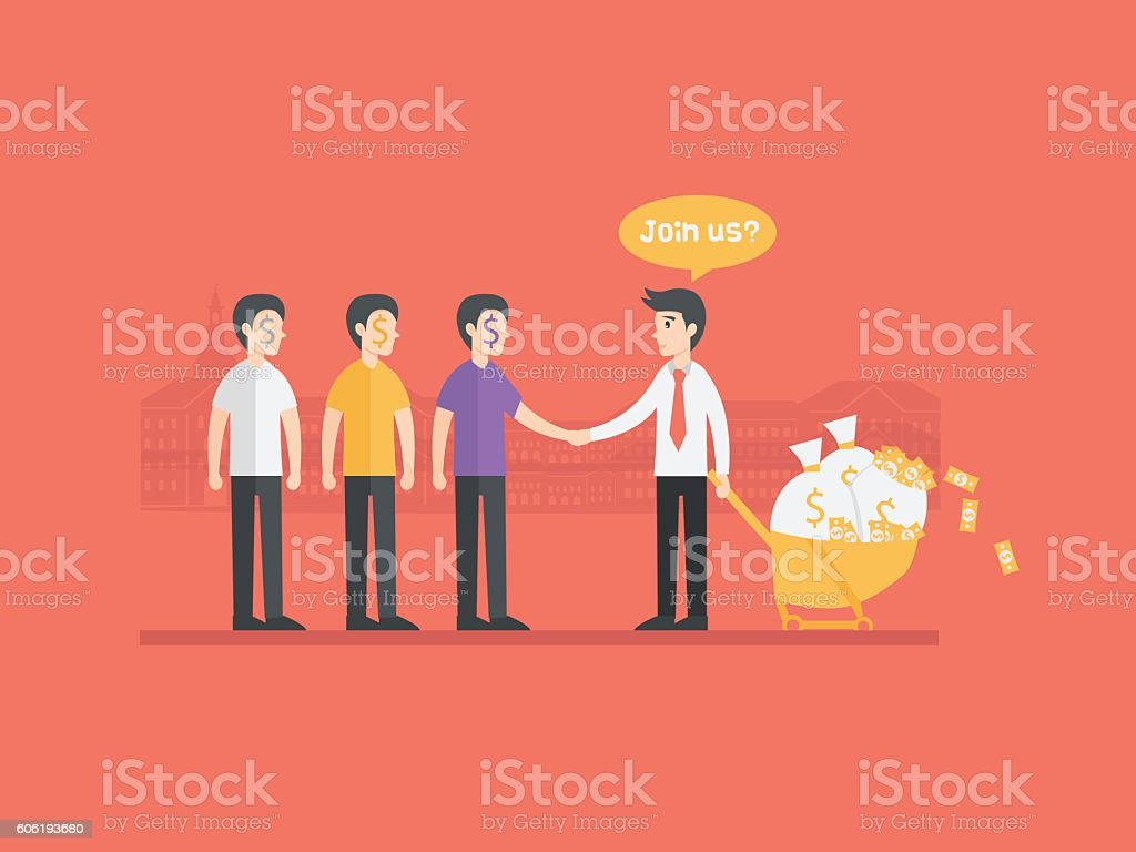 refer a friend referral cartoon concept illustration. Business man character vector art illustration