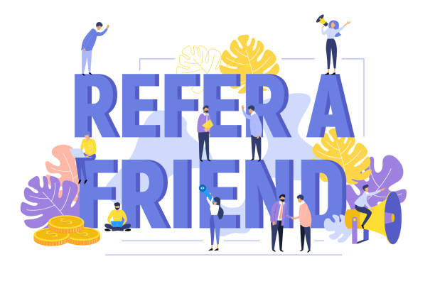 Refer a friend text background with people shouting in megaphone vector art illustration