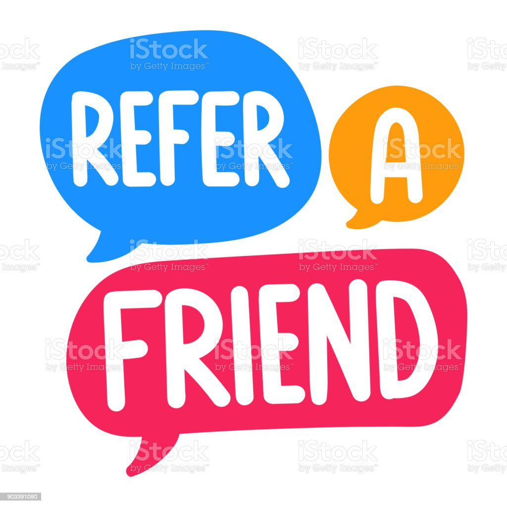 Refer a friend. Vector three hand drawn speech bubbles illustration on white background. - illustrazione arte vettoriale