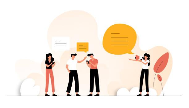 ilustrações, clipart, desenhos animados e ícones de consulte a ilustração do vetores conceito do amigo. design moderno plano para página web, banner, apresentação etc. - social media