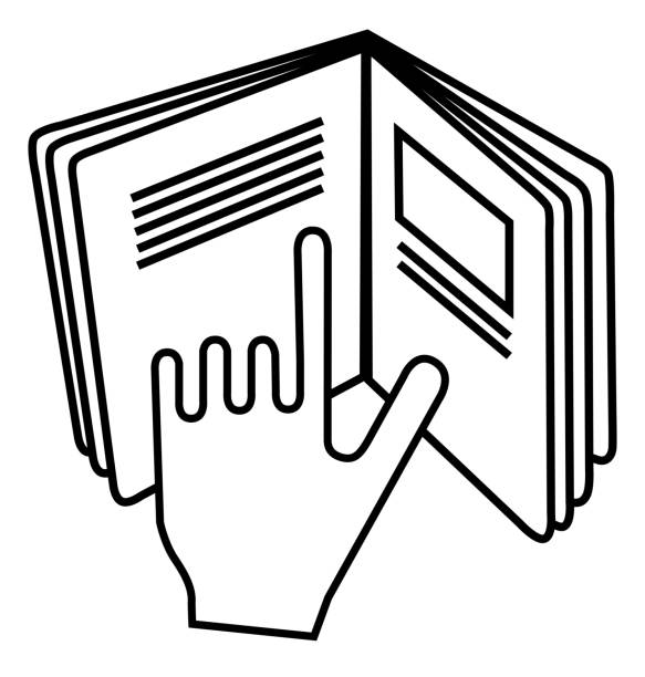 refer to insert symbol used on cosmetics products. sign displaying hand pointing to text in open book meaning read instructions. - white background stock illustrations