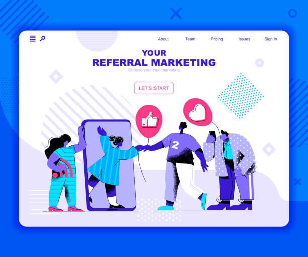 Referal marketing landing page vector template. Target advertising content website header – artystyczna grafika wektorowa