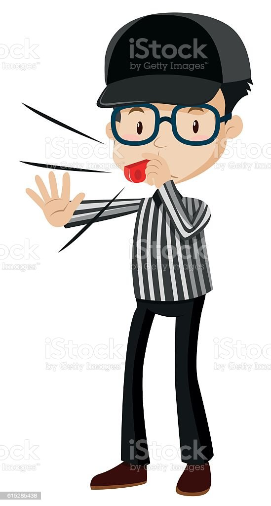 referee blowing red whistle stock vector art more images of adult rh istockphoto com