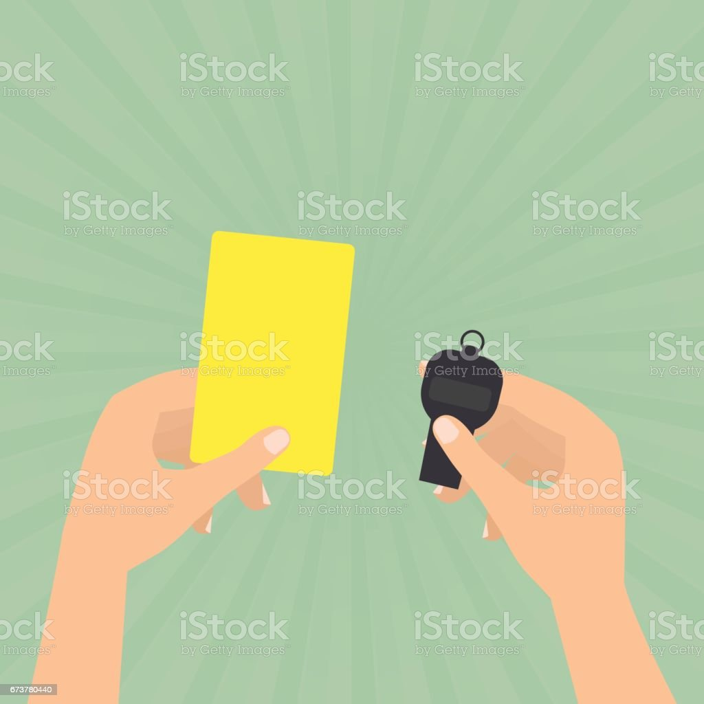 Referee hands hold a yellow card and whistle on sun rays green background. referee hands hold a yellow card and whistle on sun rays green background – cliparts vectoriels et plus d'images de arbitre libre de droits