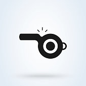 referee whistle icon vector. Flat Vector illustration