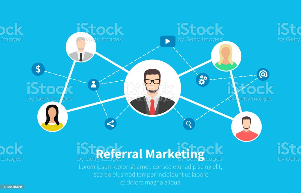 Referral marketing, network marketing, business partnership, referral program strategy. Flat cartoon design, vector illustration on background.
