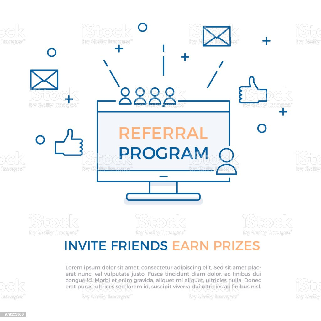 Referral program, affiliate marketing, online business concept. Invite friends, earn prizes. Vector illustration with computer screen, portraits, thumbs up and geometric shapes for refer a friend concepts.