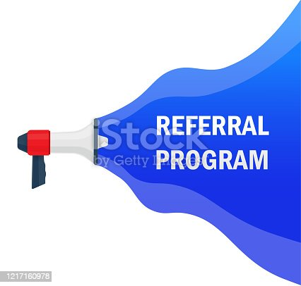 Referral program. Badge with megaphone icon. Flat vector illustration on white background