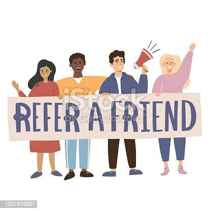 Group of young people standing together, calling to join them in a referral program. Hand drawn flat vector illustration. Referral marketing concept for a website, advertisement, poster, banner, app