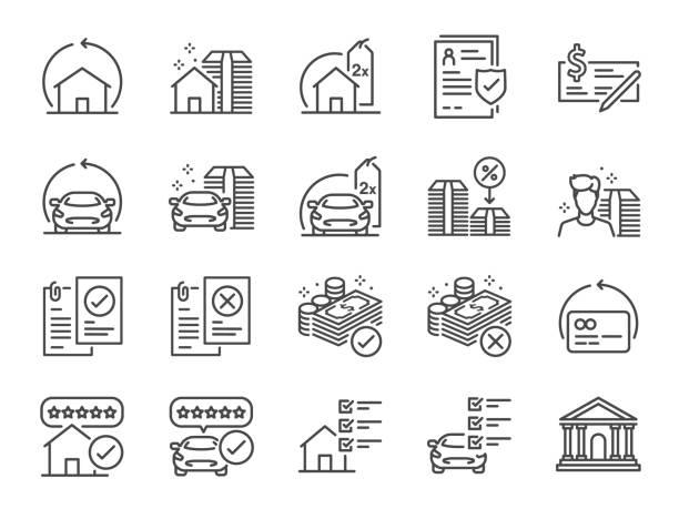 ilustrações, clipart, desenhos animados e ícones de refinanciar o jogo do ícone da linha. ícones incluídos como hipoteca, empréstimo, taxa de juros, ativo, casa, carro e muito mais. - empréstimo