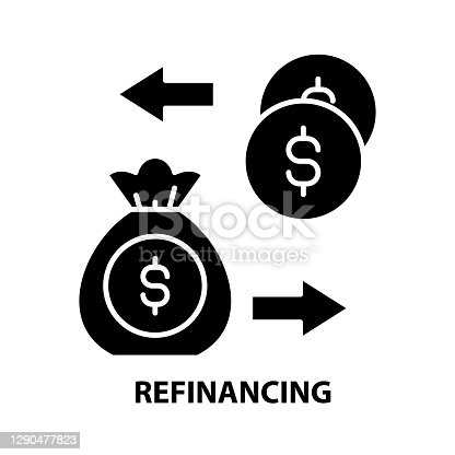 refinancing icon, black vector sign with editable strokes, concept symbol illustration
